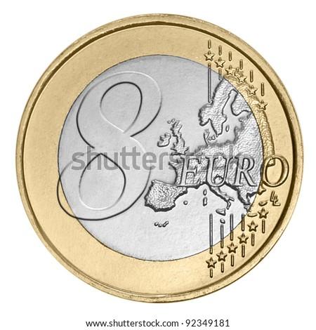 Eight euro coin on white