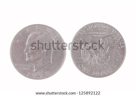 1972 Eisenhower Silver Dollars isolated on white