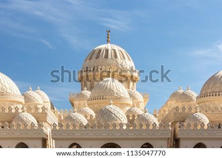 El Mina mosque dome close-up in Hurghada, Egypt