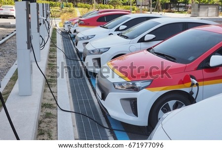 Electric car charging station in Korea  #671977096