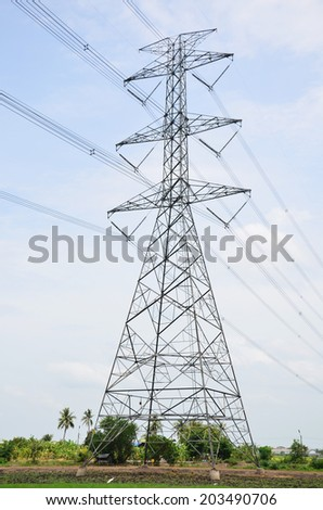 Electric Transmission Tower in Paddy or rice field at Thailand