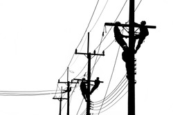 Electrician works in the height. Electrician black and white picture.