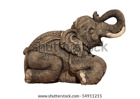 Elephant Carvings on white background