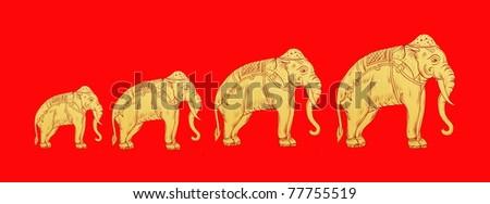 Thai Elephant Elephant Growth Step Thai Art