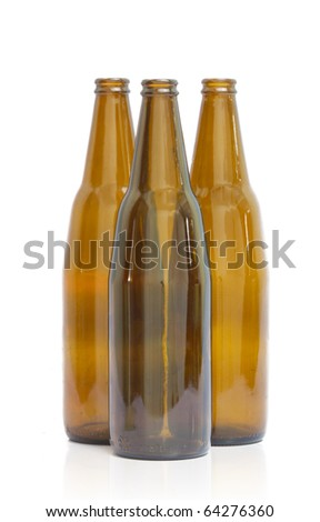 3 Empty beer bottle. Isolated on white background - stock photo