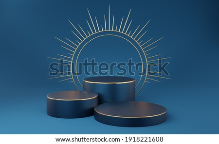 3 Empty dark blue cylinder podium with gold border and spiked halo circle on blue background. Abstract minimal studio 3d geometric shape object. Pedestal mockup space for luxury display. 3d rendering.