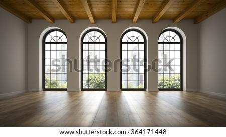 Empty loft room with arc windows 3D rendering