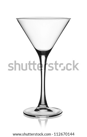 Empty martini glass isolated on the white background, clipping path included.
