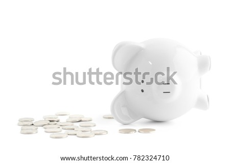 Empty piggy bank and coins on white background #782324710