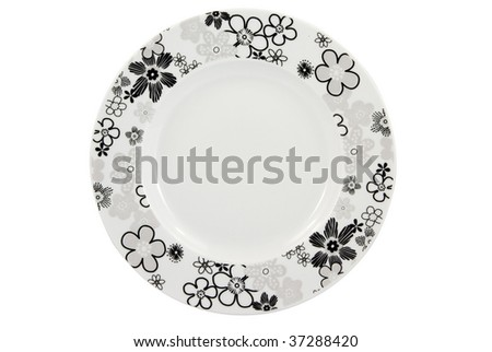 Empty plate with floral decoration on white background, with clipping path