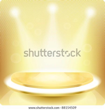 Empty round shelf gold for exhibition. Backlit. 3d.