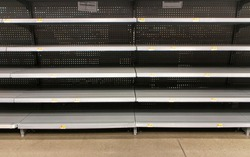 Empty shelves at a Walmart during coronavirus pandemic