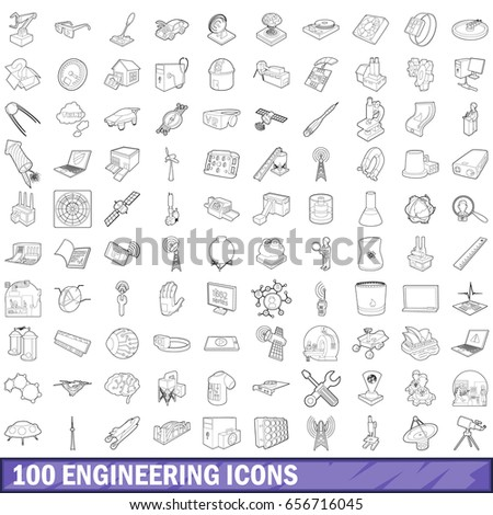 100 engineering icons set in outline style for any design  illustration