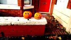 England pumpkin in front of a house halloween 2 pumpkin on street