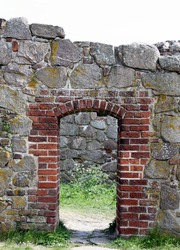 Entrance in an old wall of the Hammershus Castle of Bornholm.Denmark