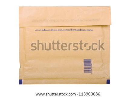 envelope for fragile items isolated on white - stock photo