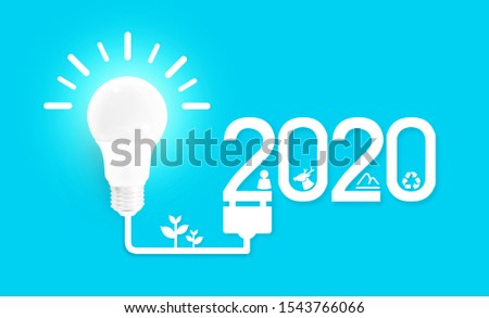 2020 environmental conservation concept.2020 creativity inspiration concepts with lightbulb