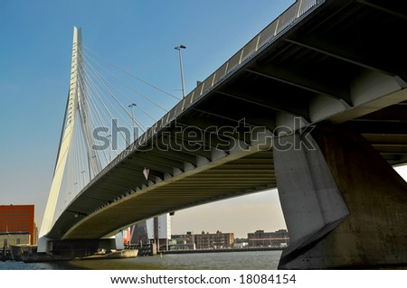 Erasmus Bridge is a cable stayed bridge across the Nieuwe Maas river, linking the northern and southern halves of the city of Rotterdam, Netherlands.