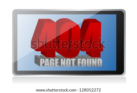 404 error on a tablet illustration design over a white background
