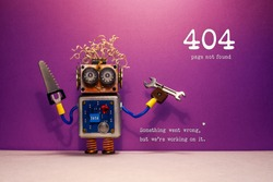 404 error page not found. Serviceman robot hand wrench and saw, purple wall background. Text message Something went wrong but we are working on it