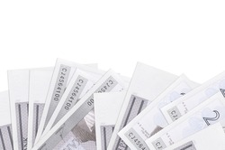 2 Estonian kroon bills lies on bottom side of screen isolated on white background with copy space. Background banner template for business concepts with money