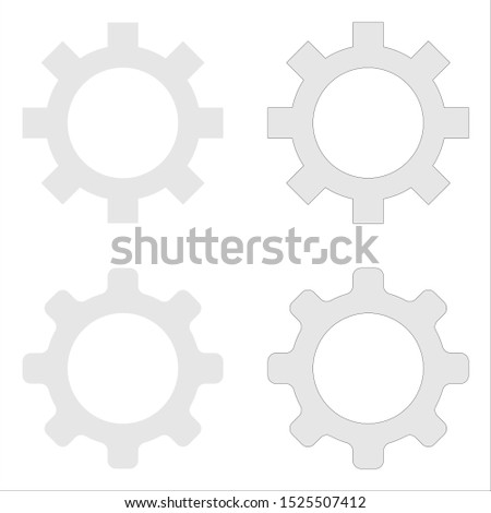 Іet of gray gears. Smooth gears, simple gears and stroke gears. Isolated on a white background