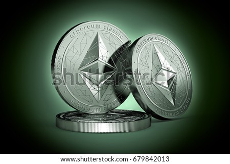 3 Ethereum classic (ETC) physical concept coins on gently lit green background. 3D rendering. New virtual money
