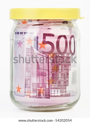 500 Euro bank notes in a glass jar isolated  on white background