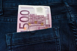 500 euro banknote in a jeans pocket - pocket money