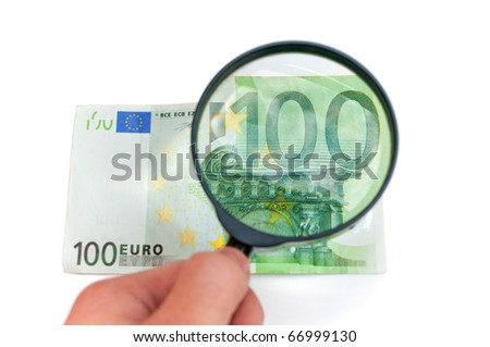 100 euro banknote through magnifier