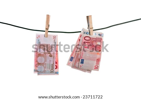 10 euro banknotes drying on a rope