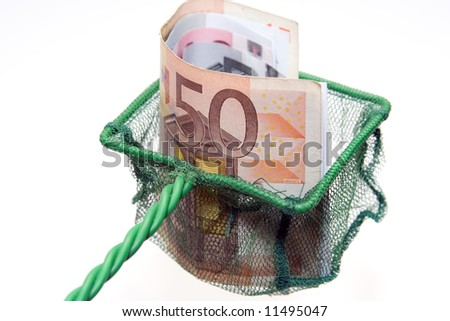 50 euro banknotes in a scoop-net