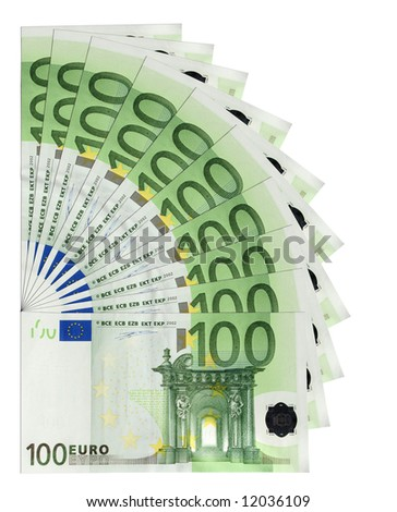 100 Euro banknotes, isolated
