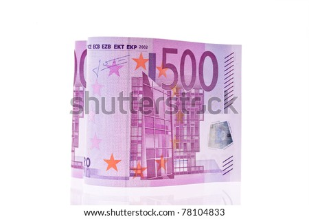 500 euro bill in the form of a heart. On white background