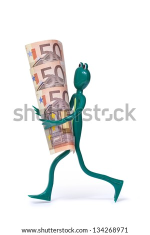 50 euro bills and frog on white