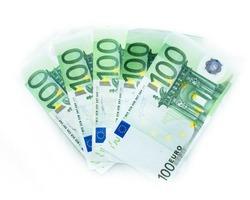 100 euro bills  euro banknotes money. European Union Currency