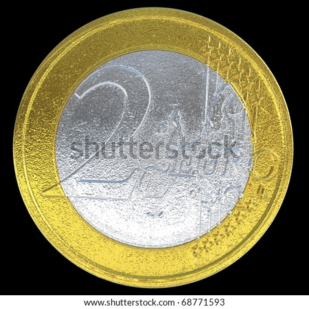 2 Euro coin: European currency on black. Large resolution