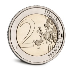 2 Euro Coin in front of white background