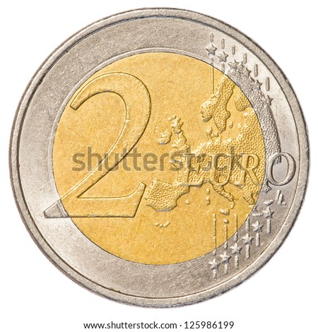 2 euro coin isolated on white background - stock photo