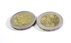 2 euro coins isolated on white background