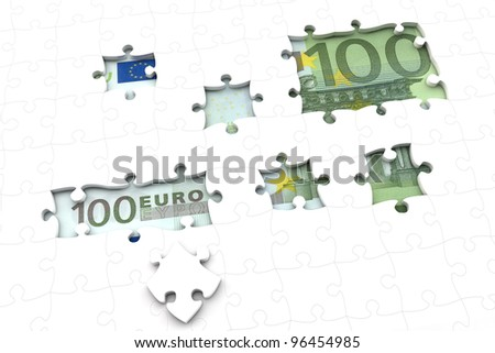 100 Euro money bill under a jigsaw puzzle with missing pieces