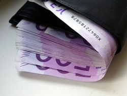 500 Euro money in black wallet. Cash of euro currency. Bundle of Euro money. Europe money.