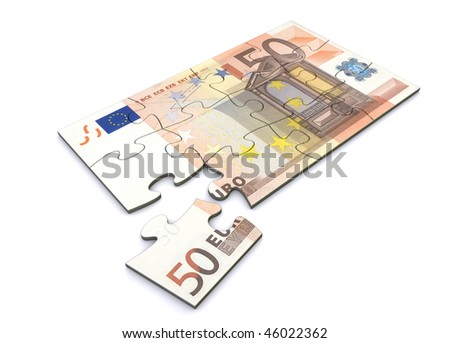50 Euro note as a puzzle - one piece separately