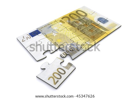 200 Euro note as a puzzle - one piece seperately