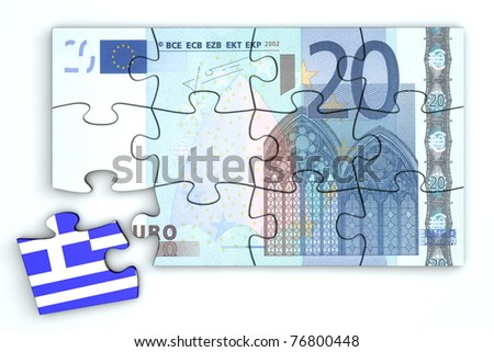 20 Euro note from top as a puzzle - one piece seperately - extra piece with Greece / greek flag on it