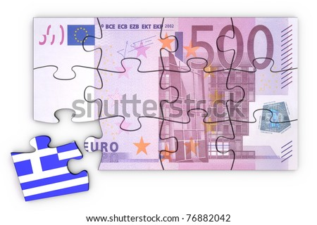 500 Euro note from top as a puzzle - one piece seperately - extra piece with Greece / greek flag on it