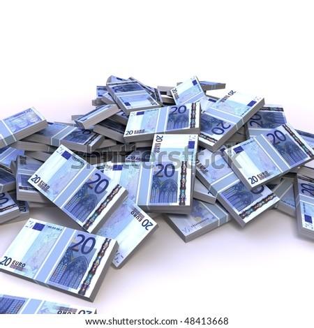 20  euro notes on white background