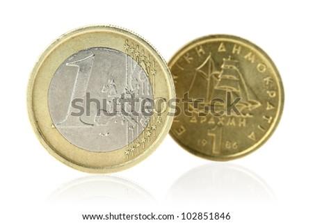 Euro or Drachma - stock photo