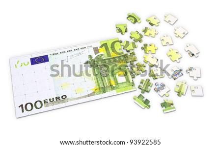 100 Euro puzzle - finances concept