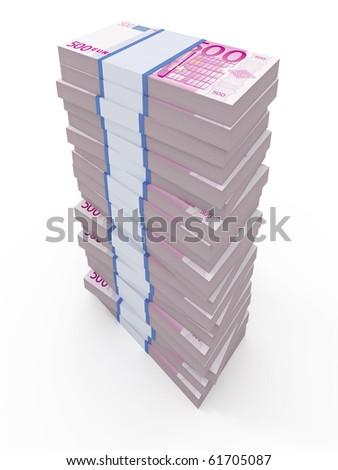 500 euro stacks isolated on white